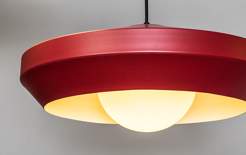 hoxton red aluminium pendant light closeup