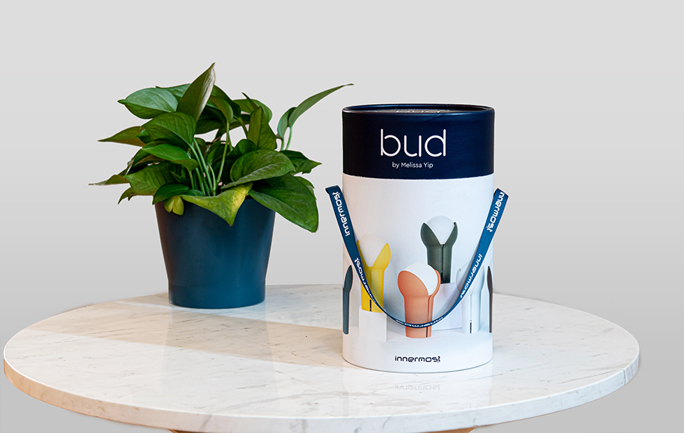 innermost portable bud lamp packaging on a table with a plant