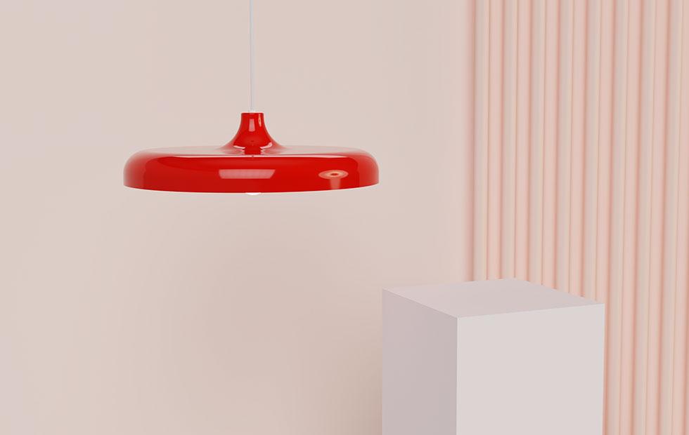 portobello aluminium pendant light in red
