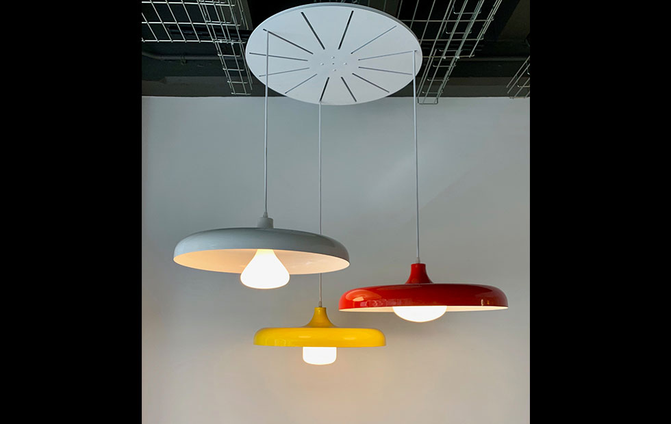 portobello aluminium pendant lights with tala bulbs