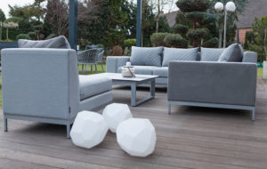 asteroid plastic outdoor lamps beside outdoor seating area