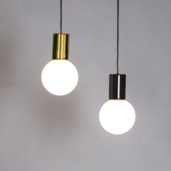 purl aluminium pendant light in brass and gun metal