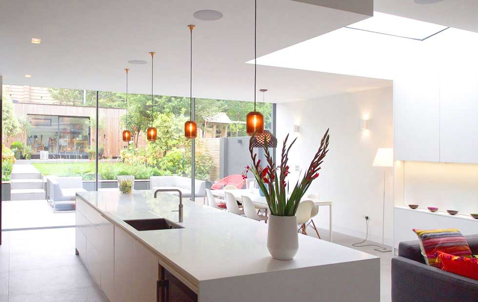 joseph pendant light over kitchen and living space