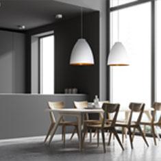 white chelsea aluminium pendant lights over a kitchen table