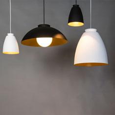 chelsea aluminium pendant lights in black and white