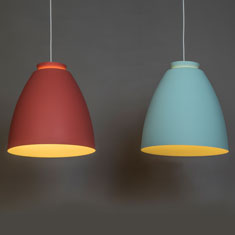 chelsea aluminium pendant lights in terracotta and mint
