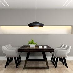 hoxton black aluminium pendant light in a seating area
