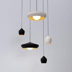 hoxton aluminium pendant light family in black and white