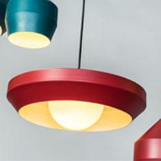 hoxton aluminium pendant light family with red closeup