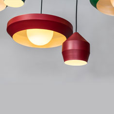 hoxton red aluminium pendant light family