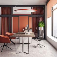 kepler halo in terracotta above an office desk