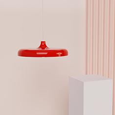 portobello aluminium pendant light in red with a table