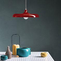 portobello aluminium pendant light in red over a table