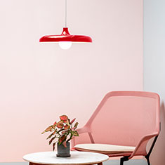 portobello aluminium pendant light in red with a coffee table and chair