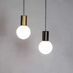 purl drop led pendant lights in brass and gun metal
