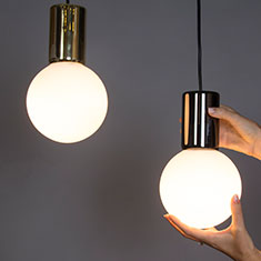 purl brass and gun metal drop led pendant lights with hands