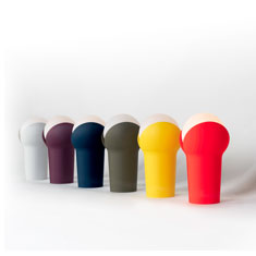 portable bud lamp colour range in a display at a side angle