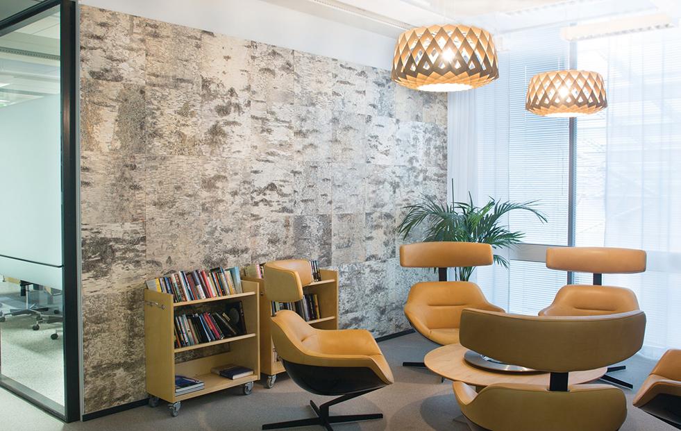 2 large pilke birch wooden pendant lights in an office