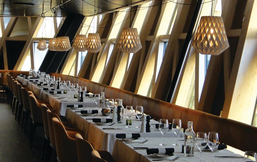 pilke 28 birch pendant lights in a restaurant