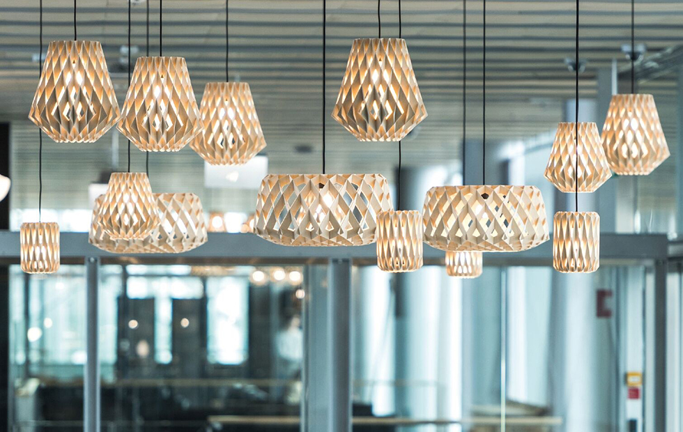 large collection of pilke birch wooden pendant lights
